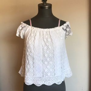 Lace Cropped Off The Shoulder Top